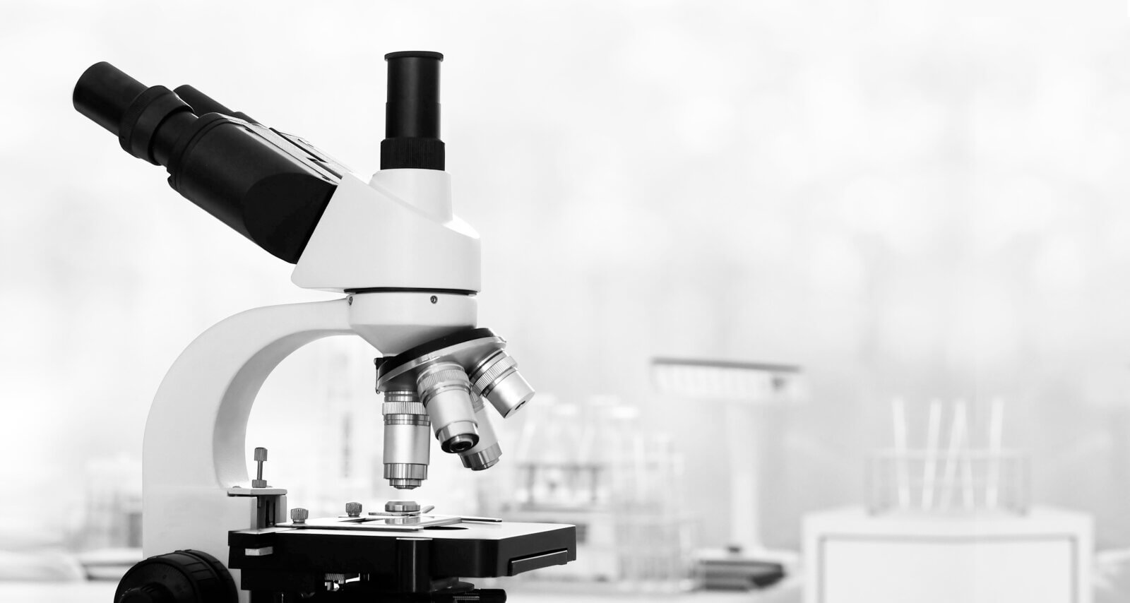 laboratory-lens-of-microscope-isolated-scientific-research-background-black-and-white